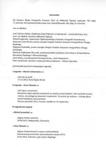Komunikat_Śląska Fotografia Prasowa 2012